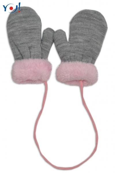 Zimní kojenecké  rukavičky s kožíškem - se šňůrkou  YO - šedé/růžový kožíšek