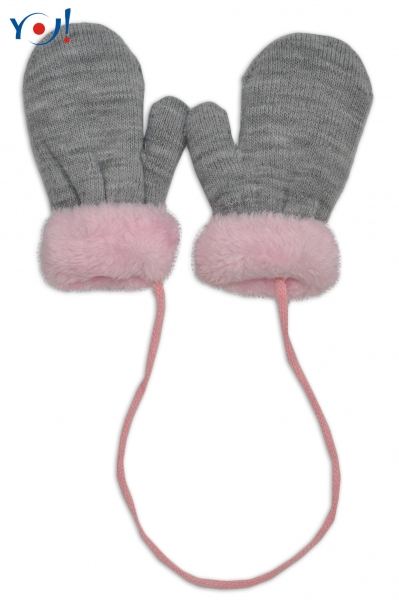 YO !  Zimní kojenecké  rukavičky s kožíškem - se šňůrkou  YO - šedé/růžový kožíšek, 12cm