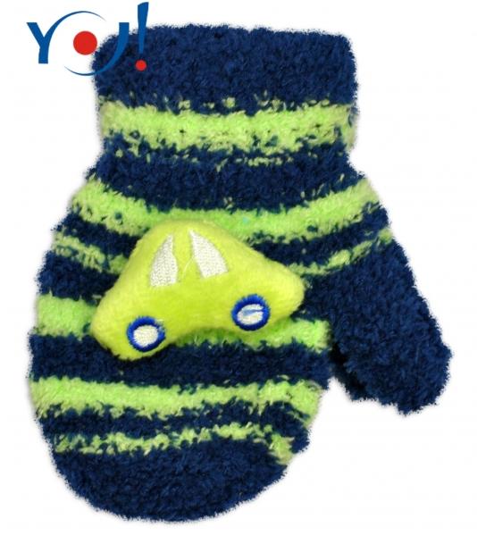 YO !  Zimní kojenecké  froté rukavičky se šňůrkou YO - granátové/zelené - autíčko