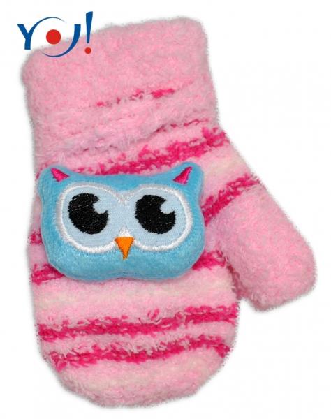YO !  Zimní kojenecké  froté rukavičky se šňůrkou YO - sv. růžové/malinové - sovička