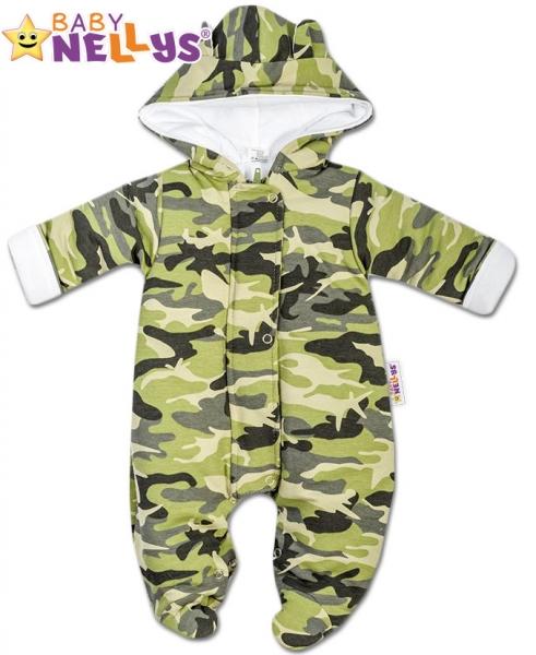 Kombinézka s kapuci a oušky ARMY Baby Nellys ® maskač zelený