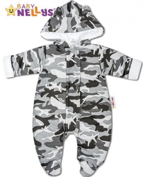 Kombinézka s kapuci a oušky ARMY Baby Nellys ® maskač šedý, Velikost: 56 (1-2m)