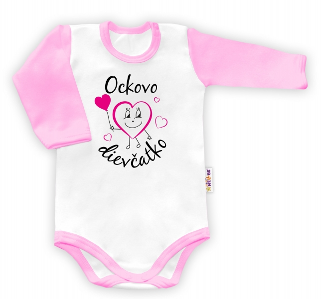 Baby Nellys Body dlouhý rukáv vel. 80, Ockovo dievčatko - bílé/růžový lemvel. 80 (9-12m)