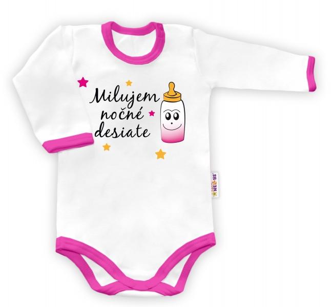 Baby Nellys Body dlouhý rukáv vel. 86, Milujem nočné desiate - bílé/růžový lemvel. 86 (12-18m)