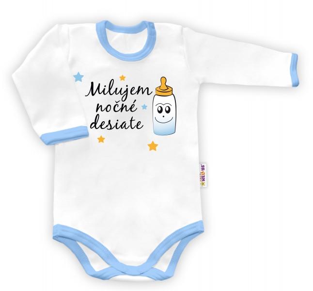 Baby Nellys Body dlouhý rukáv vel. 68, Milujem nočné desiate - bílé/modrý lem