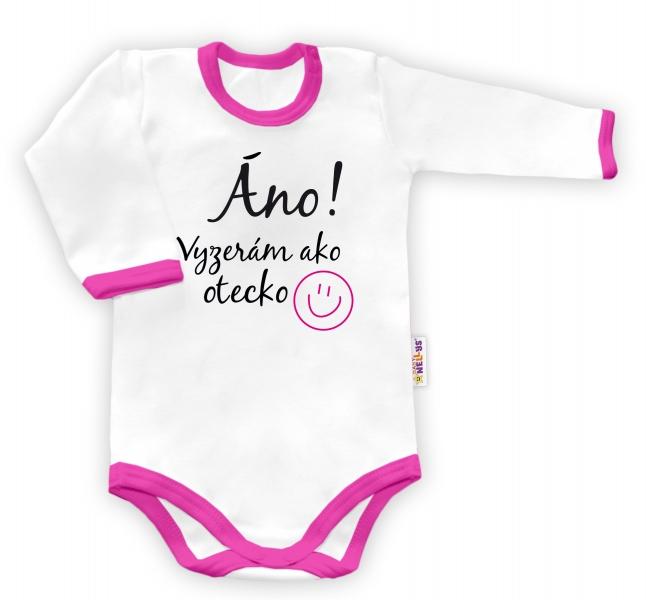 Baby Nellys Body dlouhý rukáv vel. 80,  Áno, vyzerám ako otecko - bílé/růžový lemvel. 80 (9-12m)