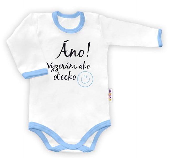 Baby Nellys Body dlouhý rukáv Áno, vyzerám ako otecko - bílé/modrý lemvel. 48/52
