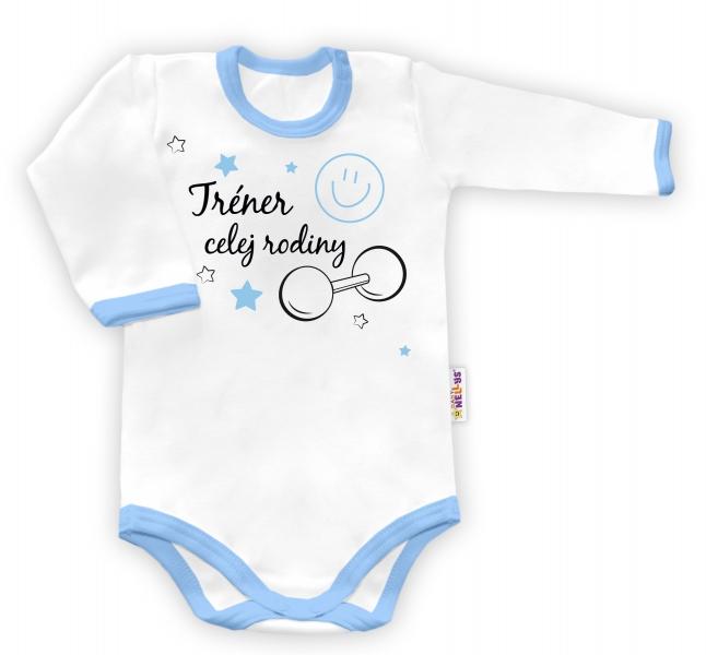 Baby Nellys Body dlouhý rukáv vel. 86, Trenér celej rodiny - bílé/modrý lemvel. 86 (12-18m)
