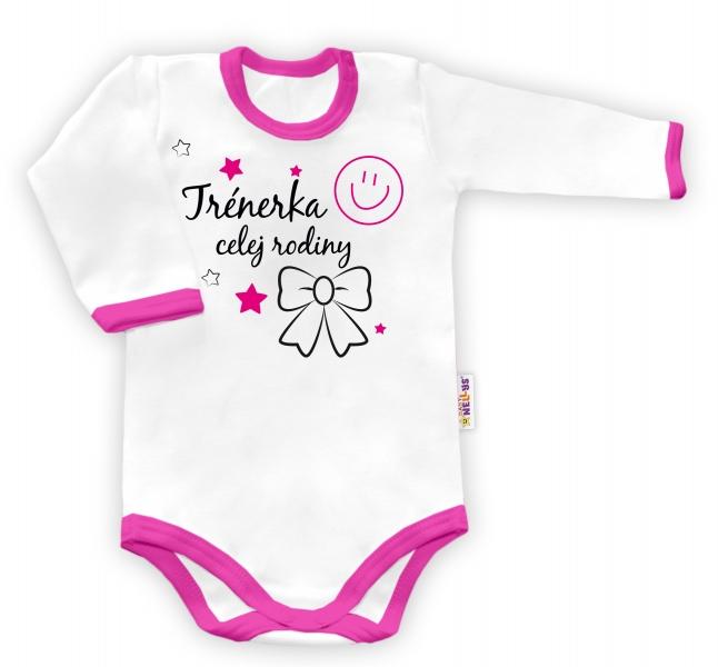 Baby Nellys Body dlouhý rukáv vel. 56, Trenérka celej rodiny - bílé/růžový lemvel. 56 (1-2m)