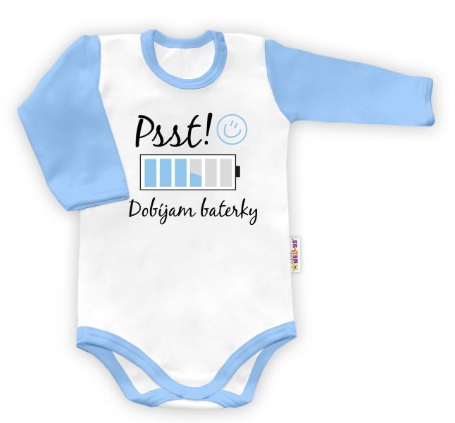 Baby Nellys Body dlouhý rukáv vel. 68, Psst! Dobíjam baterky - bílé/modrý lemvel. 68 (4-6m)