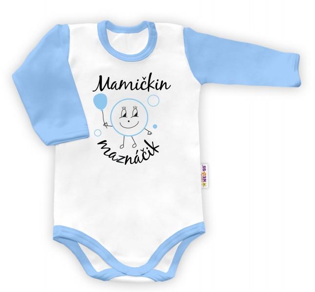 Baby Nellys Body dlouhý rukáv Mamičkin maznáčik - bílé/modrý lem