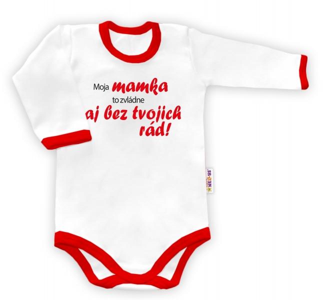 Baby Nellys Body dlouhý rukáv vel. 86, Tvoje rady - bílé/červený lem - Sk