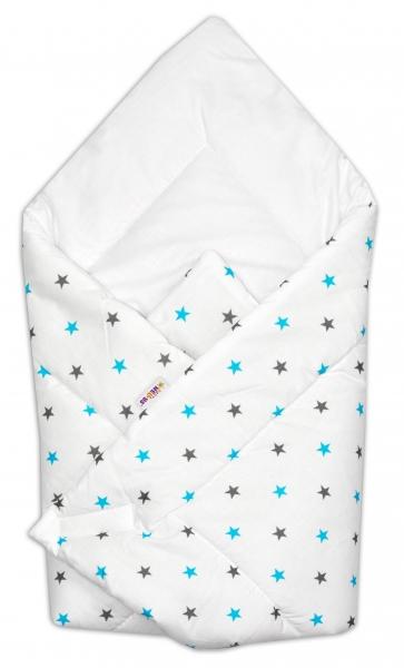 Novorozenecká zavinovačka Baby Nellys ®- tyrkysovo/šedé hvězdičky na bílém podkladu