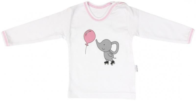 Bavlněné tričko Mamatti Slůně a Balónek - dlouhý rukáv, Velikost: 80 (9-12m)