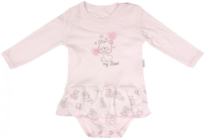 Bavlněné sukničkobody Mamatti Roztomilý Medvídek - dlouhý rukáv