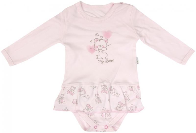 Bavlněné sukničkobody Mamatti Roztomilý Medvídek - dlouhý rukáv, Velikost: 86 (12-18m)