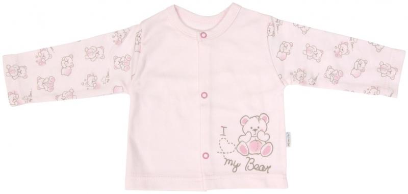 Bavlněná košilka zapínání středem Mamatti Roztomilý Medvídek, Velikost: 62 (2-3m)
