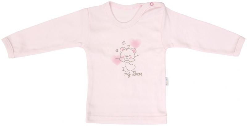 Bavlněné tričko Mamatti Roztomilý Medvídek - dlouhý rukáv, Velikost: 86 (12-18m)