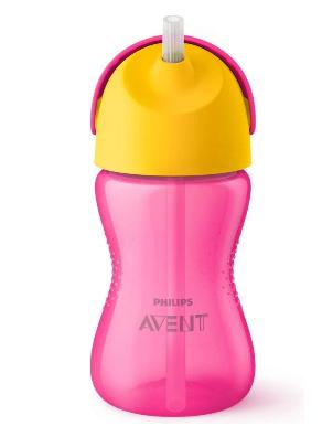 AVENT Hrníček s brčkem 300ml - růžový