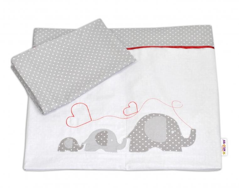 Bavlněné povlečení s výšivkou Baby Nellys ® - Sloníci se srdíčkem