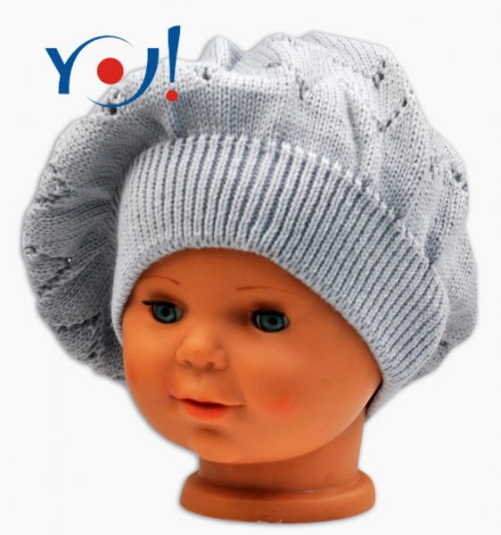 Háčkovaný baret YO ! - šedý, Velikost: 56 čepičky obvod