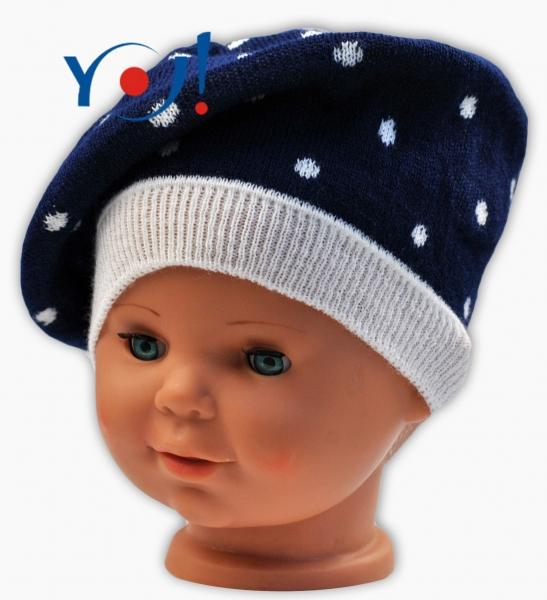 Podzimní baret YO ! Puntíky - tm. modrá/ bílé puntíky