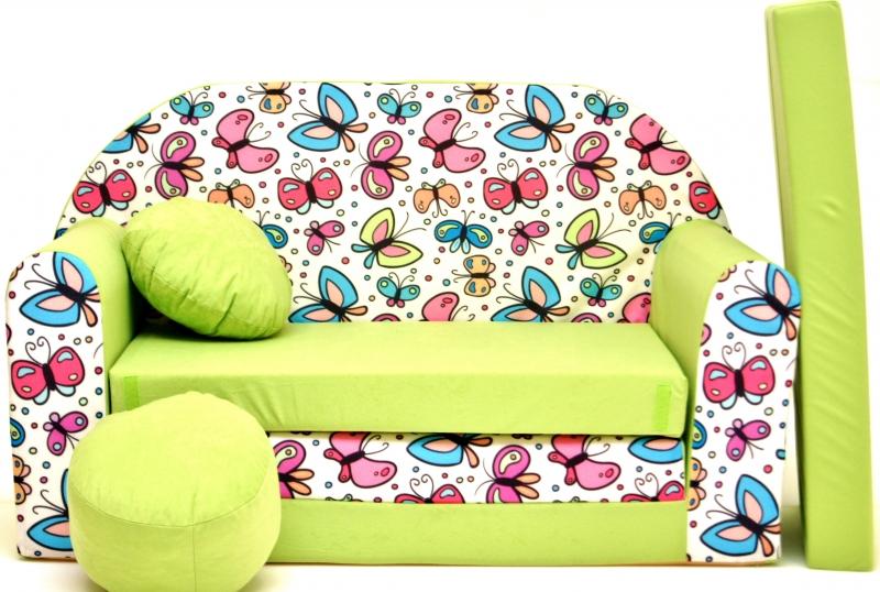 Rozkládací dětská pohovka Nellys ® 77R - Motýlci v zelené