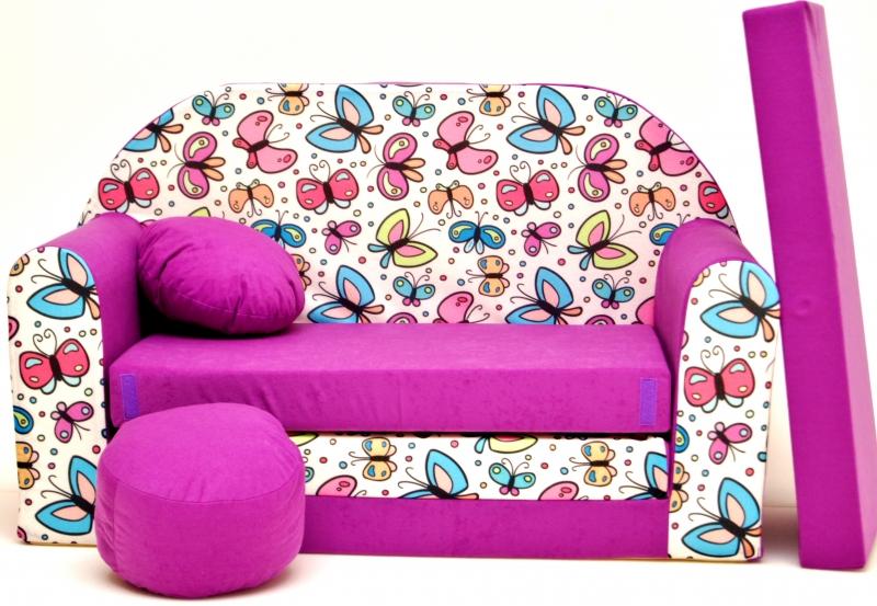 Rozkládací dětská pohovka Nellys ® 78R - Motýlci ve fialové