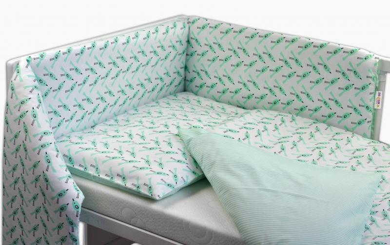 Oboustranný mantinel s povlečením Baby Nellys ® - zelení ptáčci/proužky