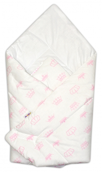 Novorozenecká zavinovačka Baby Nellys ®- růžové korunky, Velikost: Klasické