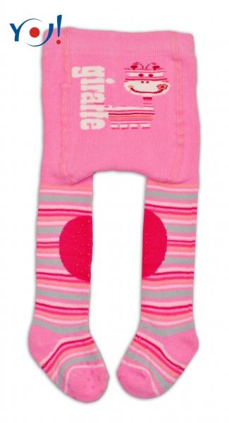 YO ! Bavlněné punčocháčky ABS na chodidle, nártu  i kolínku-růžové s žirafkou
