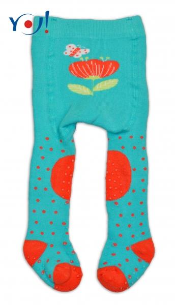 YO ! Bavlněné punčocháčky ABS na chodidle, nártu  i kolínku-tyrkysové s kytičkou