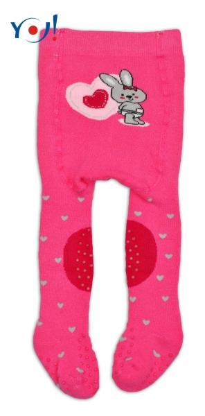 YO ! Bavlněné punčocháčky ABS na chodidle, nártu  i kolínku-tm. růžové s králičkem