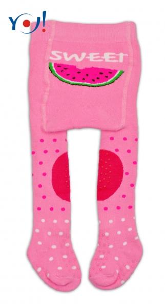 YO ! Bavlněné punčocháčky ABS na chodidle, nártu  i kolínku-růžové s melounem