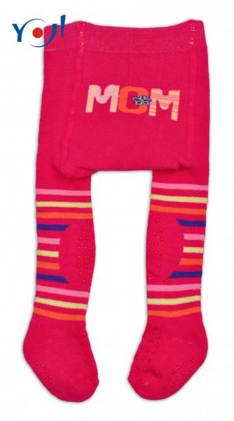 YO ! Bavlněné punčocháčky ABS na chodidle, nártu  i kolínku-malinové MOM