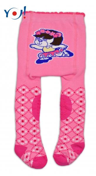 YO ! Bavlněné punčocháčky ABS na chodidle, nártu  i kolínku-růžové s baletkou
