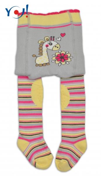 YO ! Bavlněné punčocháčky ABS na chodidle, nártu  i kolínku-šedo/žluté s žirafkou