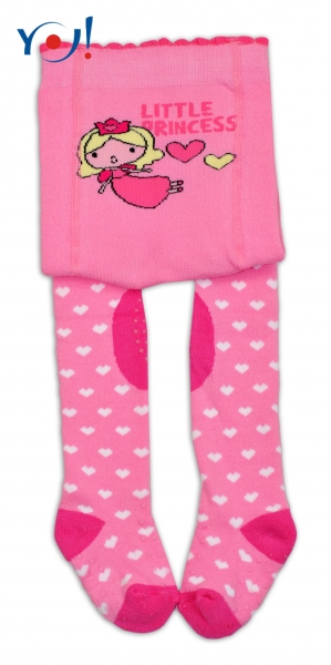 YO ! Bavlněné punčocháčky ABS na chodidle, nártu  i kolínku-růžové s princeznou