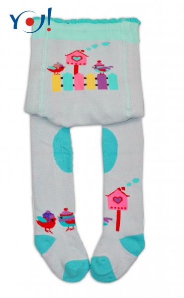 YO ! Bavlněné punčocháčky ABS na chodidle, nártu  i kolínku-tyrkysovo/růžové s ptáčky
