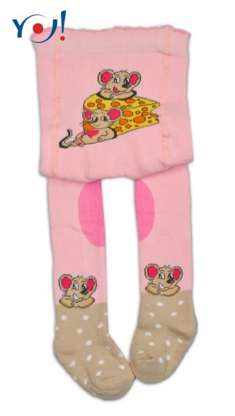 YO ! Bavlněné punčocháčky ABS na chodidle, nártu  i kolínku-sv. růžové s myškou