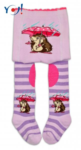 YO ! Bavlněné punčocháčky ABS na chodidle, nártu  i kolínku-lila s ježkem