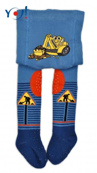 YO ! Bavlněné punčocháčky ABS na chodidle, nártu  i kolínku-tm. modré s bagrem