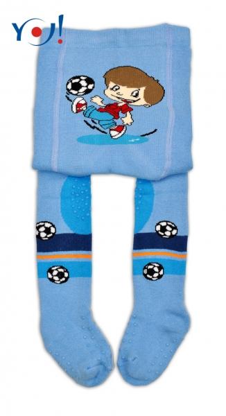 YO ! Bavlněné punčocháčky ABS na chodidle, nártu  i kolínku-sv. modré s fotbalistou