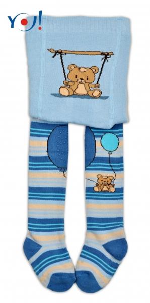 YO ! Bavlněné punčocháčky ABS na chodidle, nártu  i kolínku-sv. modré s medvídkem