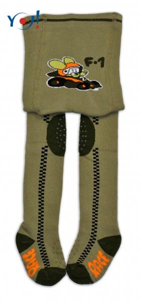 YO ! Bavlněné punčocháčky ABS na chodidle, nártu  i kolínku-khaki s formulí