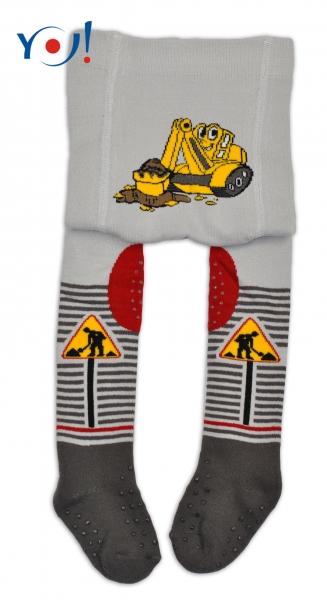 YO ! Bavlněné punčocháčky ABS na chodidle, nártu  i kolínku - šedé s bagrem