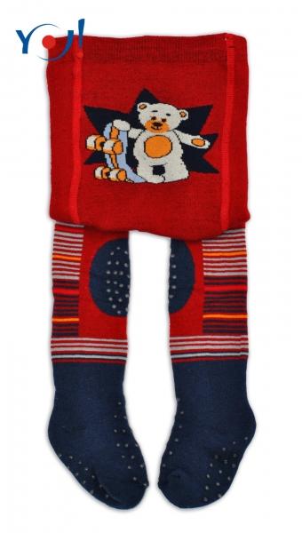 YO ! Bavlněné punčocháčky ABS na chodidle, nártu  i kolínku - tm. červené s medvídkem