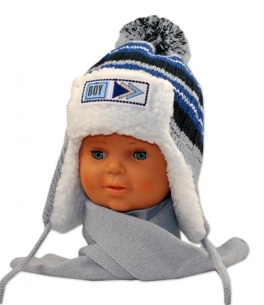 BABY NELLYS Zimní čepička s kožíškem a šálou Maty - šedá