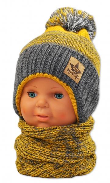 BABY NELLYS Zimní čepička s komínkem - žlutá/grafit