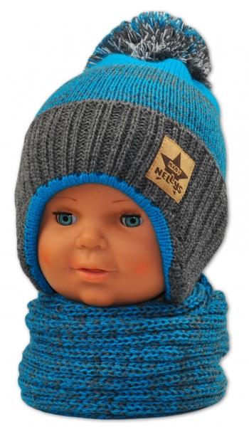 BABY NELLYS Zimní čepička s komínkem - modrá/grafit